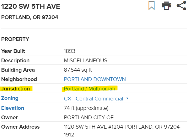 "Screenshot from PortlandMaps.com with ""Jurisdiction: Portland/Multnomah"" highlighted"